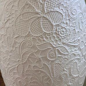 Matte White Ceramic Tall Vase Lace Raised Design